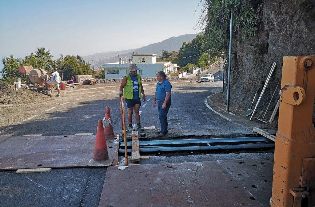 El Ayuntamiento dota de red de recogida de aguas pluviales el tramo inferior de la carretera de Las Llanadas