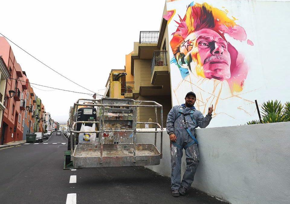El festival de arte urbano de Los Realejos '6 de 12' crea una nueva obra de la mano del artista onuvense Man-O-Matic