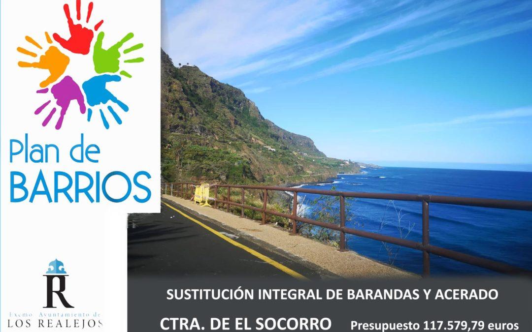 El Ayuntamiento aprueba el proyecto de sustitución integral de barandas y acerado en la carretera de acceso a El Socorro
