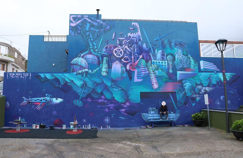 Un mural del lanzaroteño Feo Flip en Toscas de Romero cierra el primer festival de arte urbano de Los Realejos