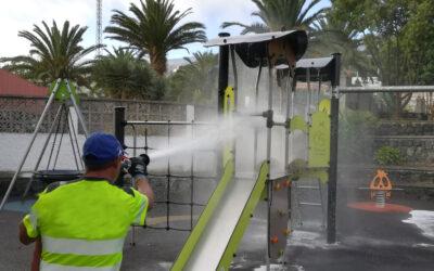 Los Realejos desarrolla zafarranchos de limpieza y desinfección en todos los espacios públicos del municipio