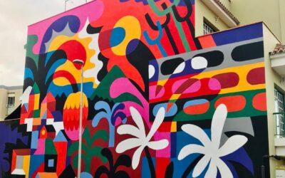 El artista francés 3ttman diseña y colorea una nueva obra mural en las calles realejeras