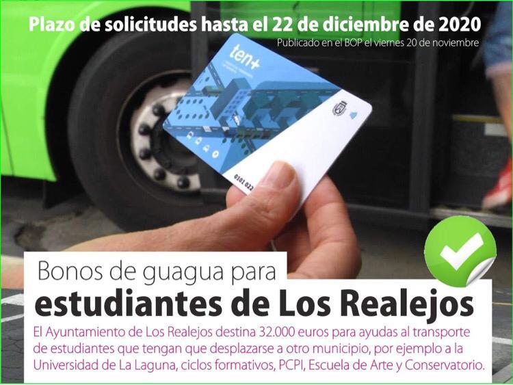 Los Realejos eleva a 32.000 euros sus ayudas al transporte para estudiantes a solicitar hasta el 22 de diciembre